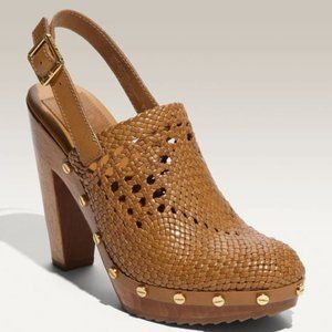 Tory Burch Widdianne Woven Leather Clogs